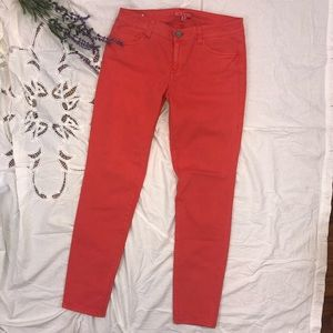 CAbi Coral Lobster Skinny Jeggings Jeans 8